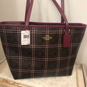 Coach Signature Shirting Plaid Tote